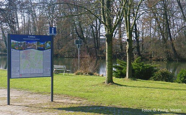 zwei neue Info-Tafeln verbessern jetzt die Orientierung für Wassersportler an der Spree in Cottbus.