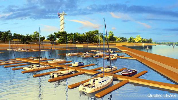 Kaimauer am künftigen Stadthafen des Cottbuser Ostsees