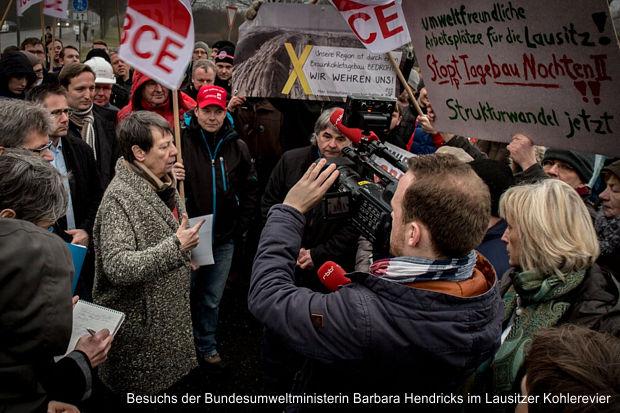 Besuchs der Bundesumweltministerin Barbara Hendricks im Lausitzer Kohlerevier
