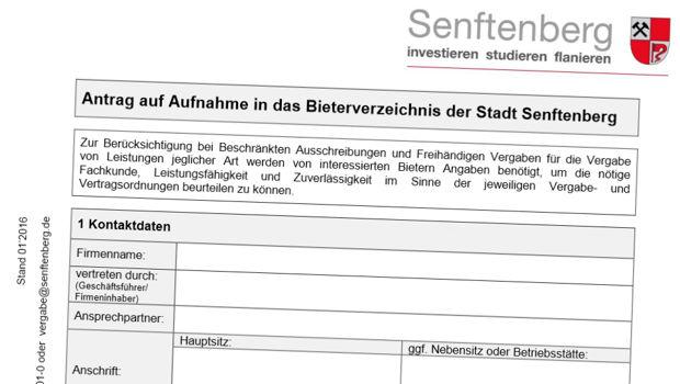 Bieterverzeichnis für Ausschreibungen in Senftenberg