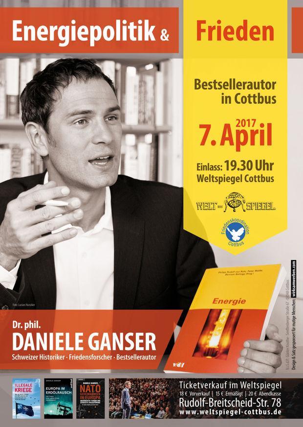 Dr. Daniele Ganser spricht in Cottbus zu Energiepolitik & Frieden