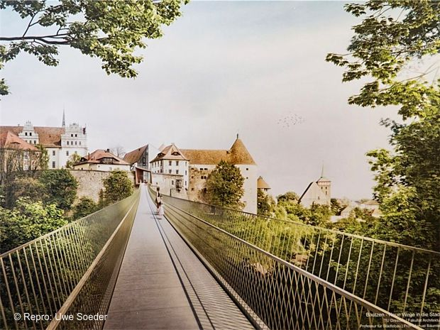 So könnte die Brücke vom Protschenberg zur Ortenburg aussehen. Den Entwurf hat Professor Manuel Bäumler von der TU Dresden gemeinsam mit seinen Studenten erarbeitet.