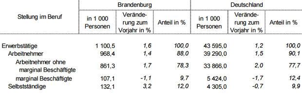 Erwerbstätige in Brandenburg und Deutschland nach der Stellung im Beruf