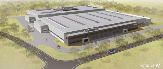 Halle mit Verwaltungstrakt und Technikanbauten