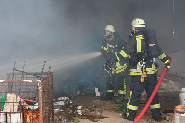 Brand auf dem Recyclinghof im polnischen Brożek