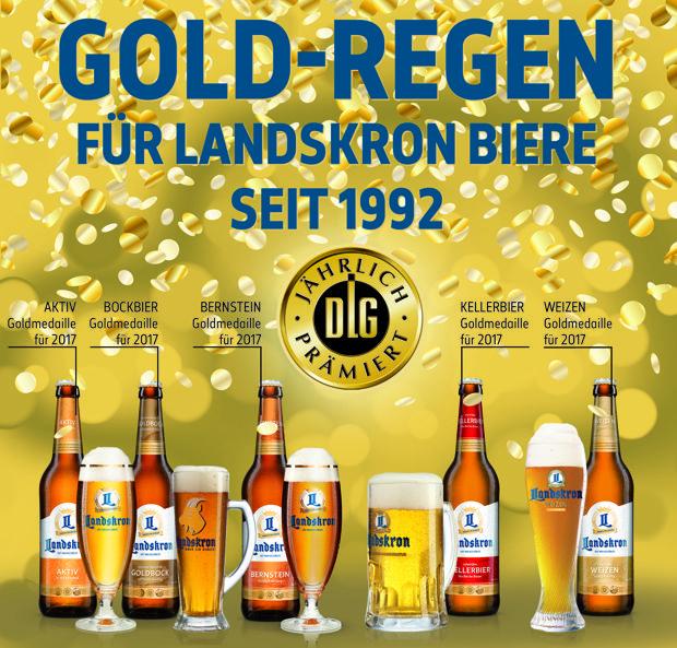 Gold-Regen für Landskron Biere
