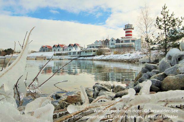 Leuchtturm-Hotel Geierswalder See im Winter