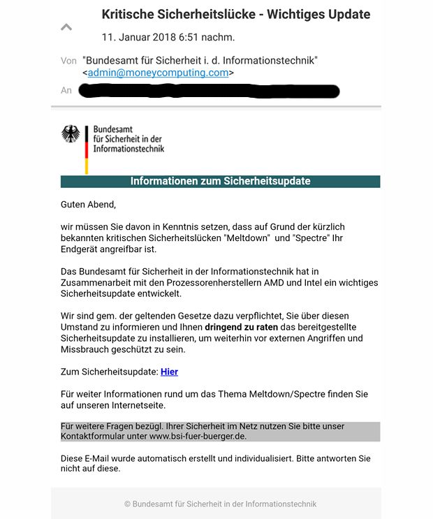 Screenshot der gefälschten E-Mail