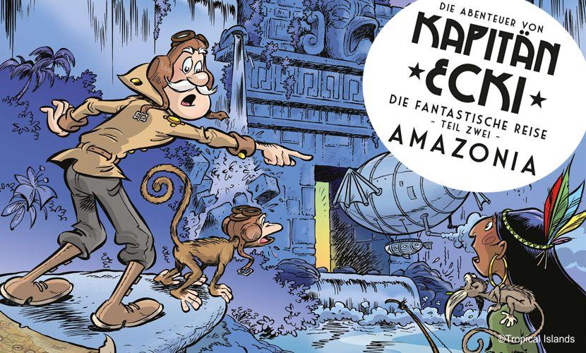 Kapitän Ecki ist wieder mit seinem Luftschiff unterwegs: Der neue Comic ist jetzt im Tropical Islands Resort erhältlich. ©Tropical Islands