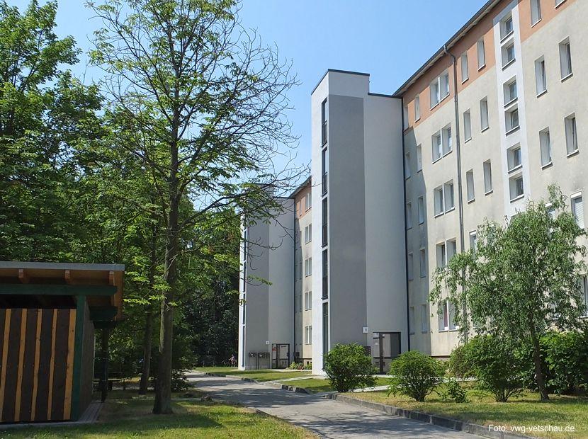 Vetschauer Wohnungsgenossenschaft hat im vergangenen Jahr ca. 1 Mio € in die Modernisierung des Gebäudes Str. des Friedens 8-12 investiert