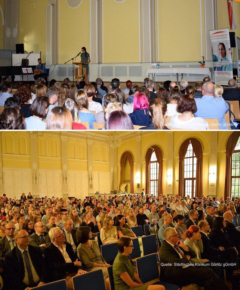 Ines Hofmann, Geschäftsführerin der Krankenhausakademie des Landkreises Görlitz begrüßt im Wichernhaus in Görlitz ca. 300 Gäste