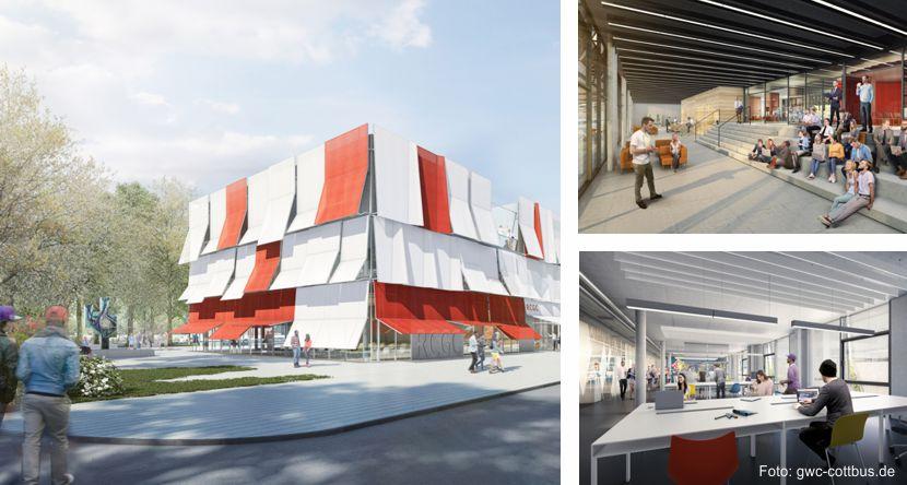 Ansicht des künftigen Regionalen und Cottbuser Gründungszentrums am Campus (RCGC)