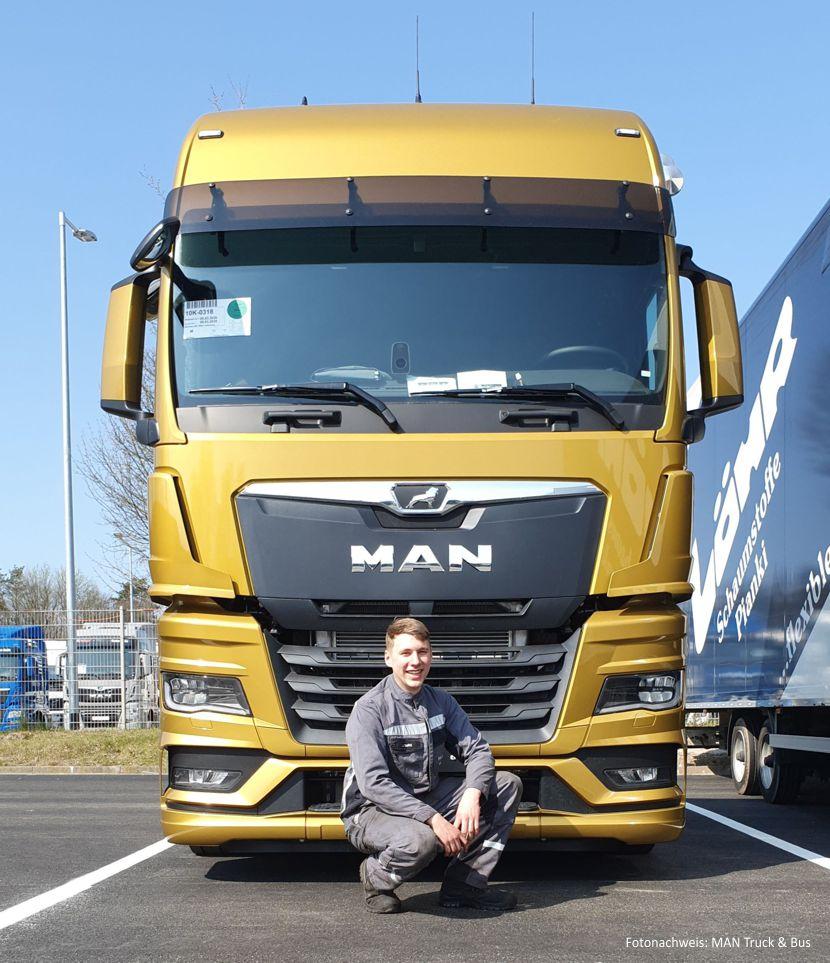 Jonah Friedrich Slaby ist Auszubildender bei der MAN Truck & Bus Deutschland GmbH in Wildau. - Fotonachweis: MAN Truck & Bus