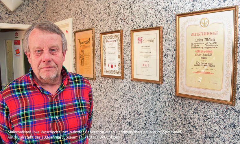 Malermeister Uwe Woschech führt in dritter Generation einen Handwerksbetrieb in Burg (Spreewald). Am 1. Juli steht das 100-jährige Jubiläum an. - Foto: HWK Cottbus