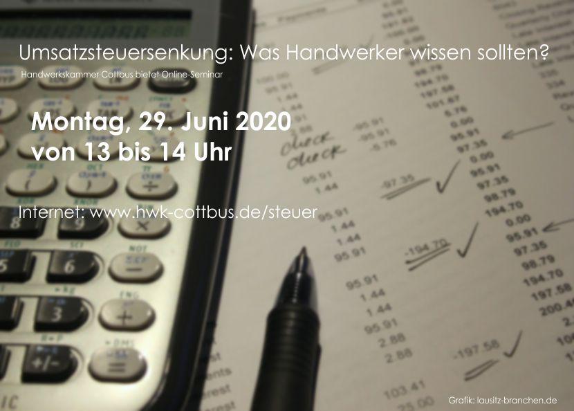 Umsatzsteuersenkung: Online-Seminar für Handwerker