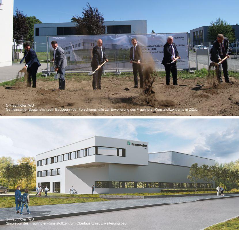 Spatenstich für Erweiterung des Fraunhofer-Kunststoffzentrums Oberlausitz