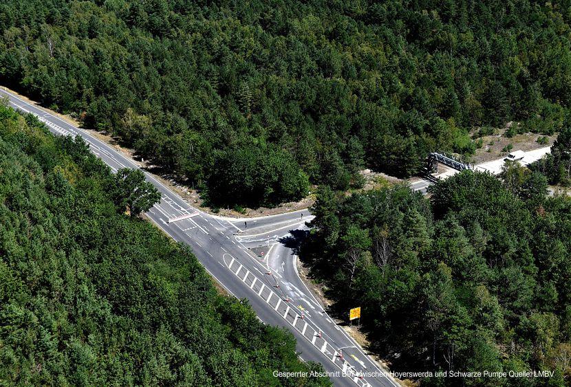 Gesperrter Abschnitt B97 zwischen Hoyerswerda und Schwarze Pumpe